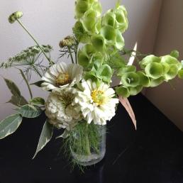 Zinnia, Dill, Ficus Benjamina, Bells of Ireland, Calendula, Queen Anne's Lace