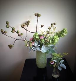 Dusty Miller, Green Acorns, Pink Zinnia, Dill, Bells of Ireland