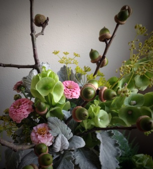 Dusty Miller, Green Acorns, Pink Zinnia, Dill, Bells of Ireland